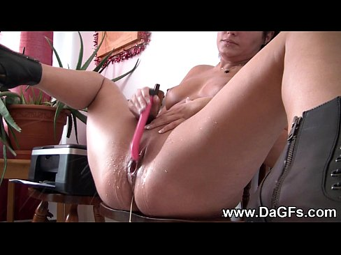 0913 blonde squirts milk out her ass and dildo 5